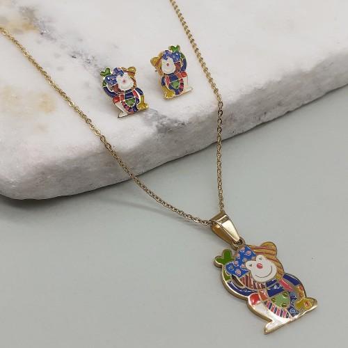 Гарнитур сережки + кулон для девочки из ювелирного сплава Медвежонок