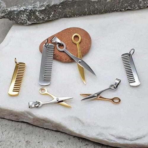 Двойной кулон из комбинированной стали Ножницы и расческа в трех вариантах