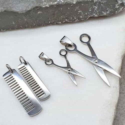 Стальной кулон из двух частей Ножницы и расческа в двух размерах