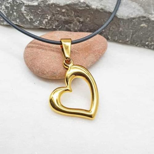 Женский стальной кулон в форме сердца