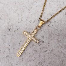 Крестик стальной с фианитами PVD покрытие под золото