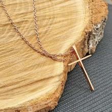 Крестик стальной без распятия PVD под розовое золото