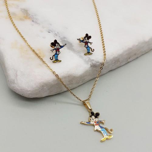 Бижутерный гарнитур для девочек из стали и эмали серьги и подвеска Mickey Mouse