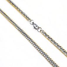 Оригинальная мужская цепочка двухцветная плетение панцирь 50 см/4 мм
