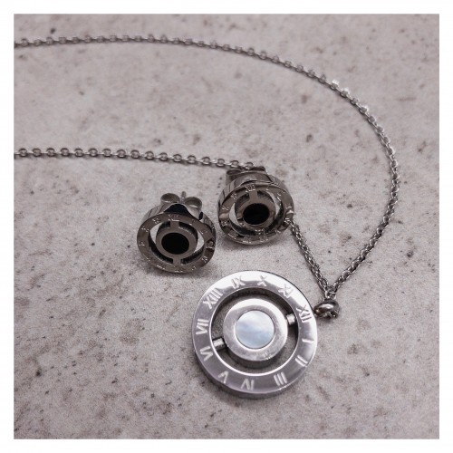 Набор ювелирной бижутерии цепочка с кулоном и сережки Серебряный циферблат