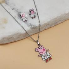 Набор украшений из ювелирного сплава серьги и кулон Розовая Свинка