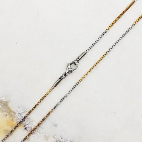 Цепочка из комбинированной стали венецианское плетение 51 см/1 мм