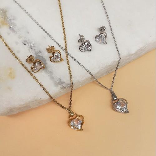 Изящный комплект украшений с кристаллами циркония кулон и сережки Формула любви в двух вариантах