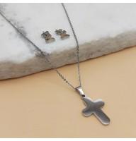 Набор женских украшений из хирургической стали (кулон на цепочке и сережки) Крест
