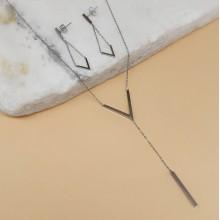 Элегантный набор ювелирной бижутерии из медицинской стали подвеска и серьги Виктория