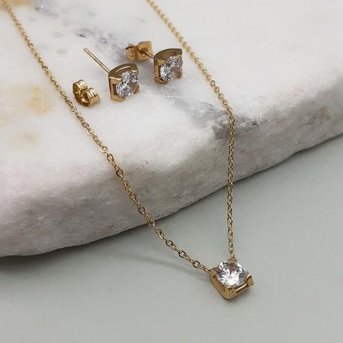 Изящный гарнитур бижутерии из стали с цирконием серьги и подвеска с покрытием под золото