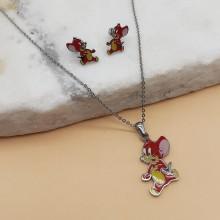 Набор детских украшений из стали с цветной эмалью кулон и сережки Неугомонный Мышонок