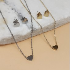 Гарнитур украшений из стали подвеска и сережки-гвоздики Любящее сердце в двух вариантах
