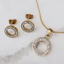 Подвеска и сережки подарочный комплект украшений из ювелирного сплава с циркониями