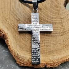 Стальной нательный крестик с молитвой