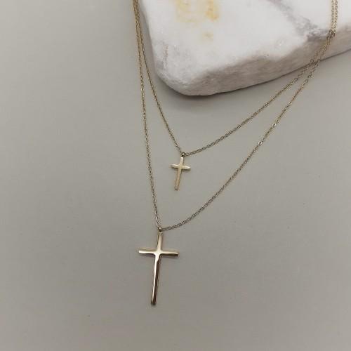 Колье на двойной цепочке с крестами и покрытием