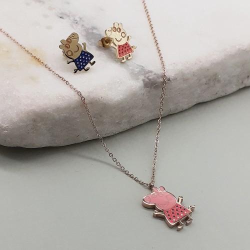 Бижутерный набор украшений для девочек из ювелирной стали с эмалью Свинка Пеппа