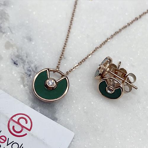 Подвеска и серьги-гвоздики гарнитур ювелирной бижутерии Зеленая орхидея