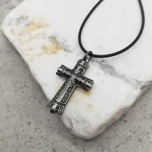 Стальная подвеска стилизованный крест с чернением