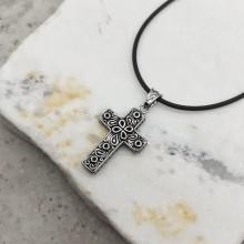 Крест подвеска с орнаментом из нержавеющей медицинской стали