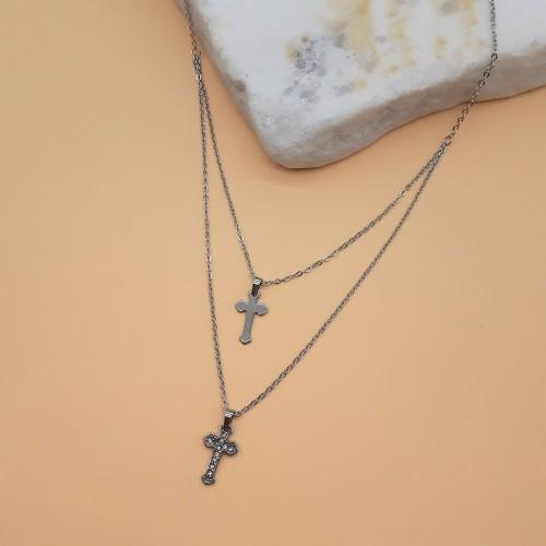 Колье с крестиками на шею хирургическая сталь