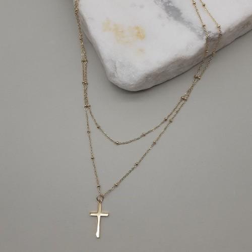 Колье стальное с крестиком с покрытием под золото