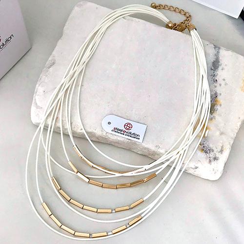 Колье из текстильных шнуров Адели белое женское бижутерия
