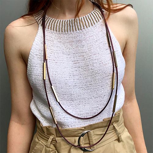 Колье из текстильных шнуров Аланнис женское красное бижутерия