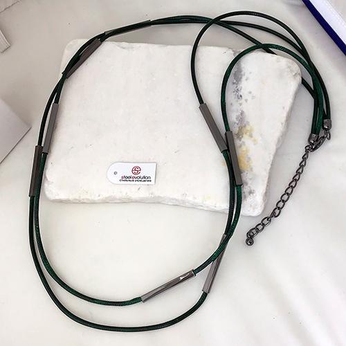 Колье из текстильных шнуров Аланнис женское зеленое бижутерия
