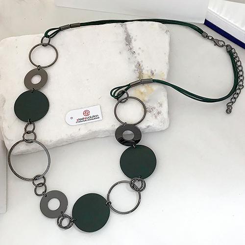 Колье из текстильных шнуров Геммма зеленое женское бижутерия