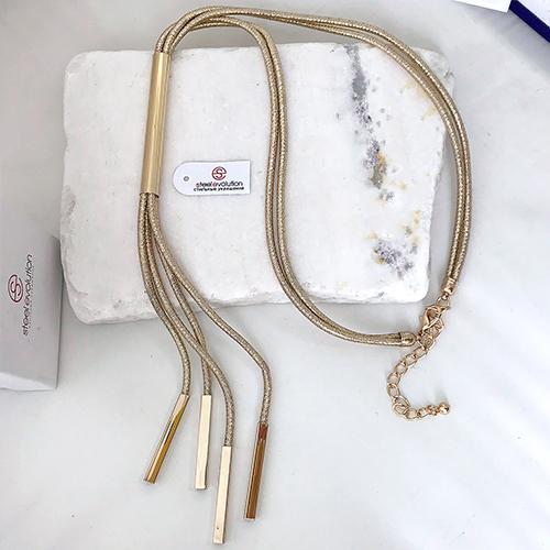 Колье из золотистых металлических шнуров женское бижутерия