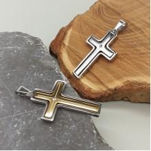Крест-подвеска стальной с кристаллом циркония в двух цветах