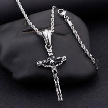 Кулон крест с черепом из хирургической стали