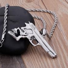 Кулон стальной Пистолет с черепом для мужчин