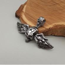 Кулон мужской из стали в форме черепа с крыльями