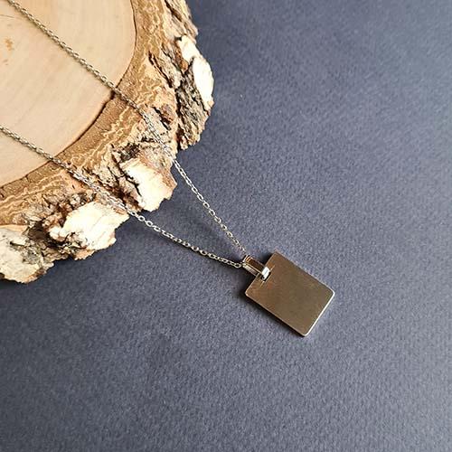 Подвеска из стали с пластиной для индивидуальной гравировки унисекс
