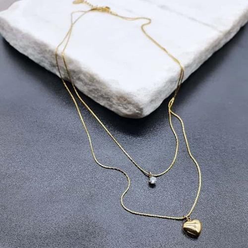Двойная подвеска на шею из стали с фианитом и сердечком