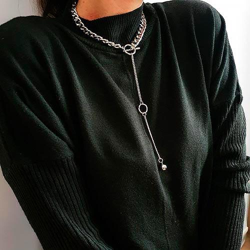 Колье женское комбинированного плетения застежка-тоггл