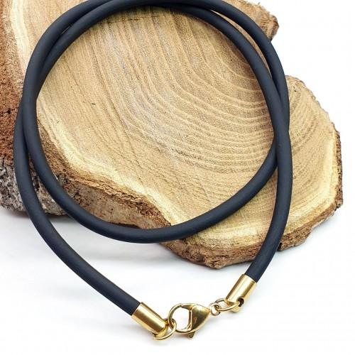 Шнурок каучуковый с застежкой под золото диаметр 4 мм