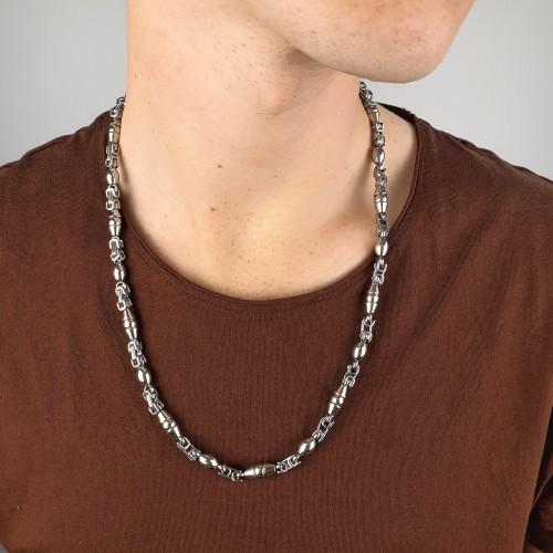 Цепь на шею мужская фантазийное плетение Геометрия 60 см/7 мм