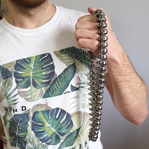 Мужская байкерская цепь Стальные черепа 66 см/2,5 мм