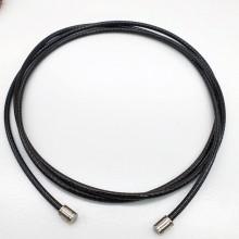 Текстильный шнурок с пропиткой и сталью без застежки диаметр 2 мм