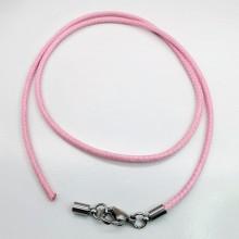 Розовый текстильный шнурок на шею диаметр 2 мм