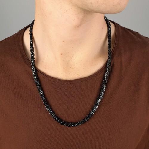 Цепь мужская из стали черного цвета 58 см/5 мм