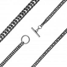 Стильная мужская цепь из черненой стали Панцирное плетение