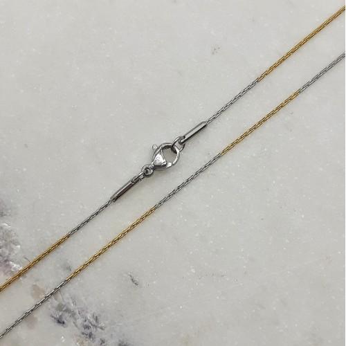 Цепочка из медицинской двухцветной стали женская плетение плоский якорь 45 см/1 мм