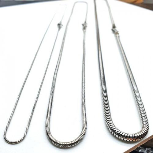 Цепочка из стали с плетением снейк 45, 50, 55 и 60 см/1, 1.5, 2 и 3 мм
