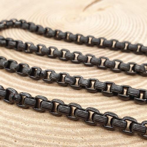 Модная мужская цепь на шею из черненой медицинской стали 67 см/6 мм