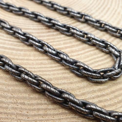 Звеньевая мужская цепь тройное плетение 67 см/6 мм