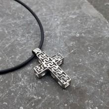 Крестик на шею стальной с перфорацией